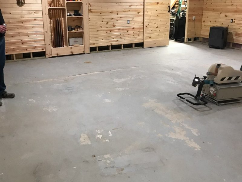 before the leveling of a basement floor install.