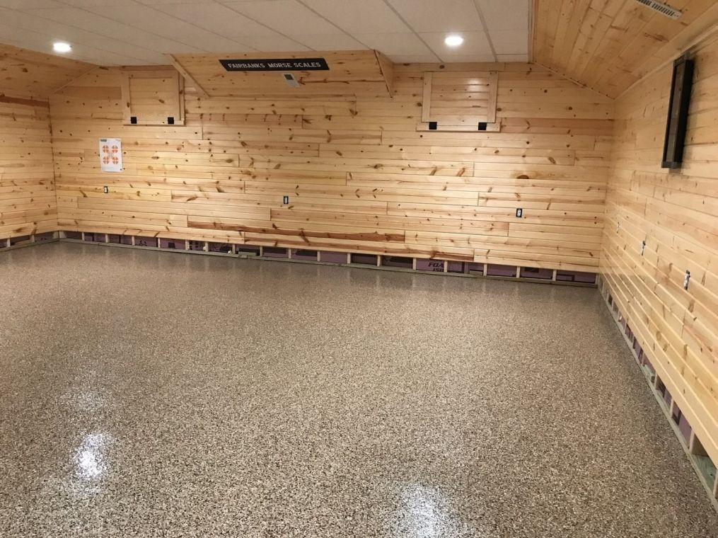 Modern basement with flake flooring. Another look.