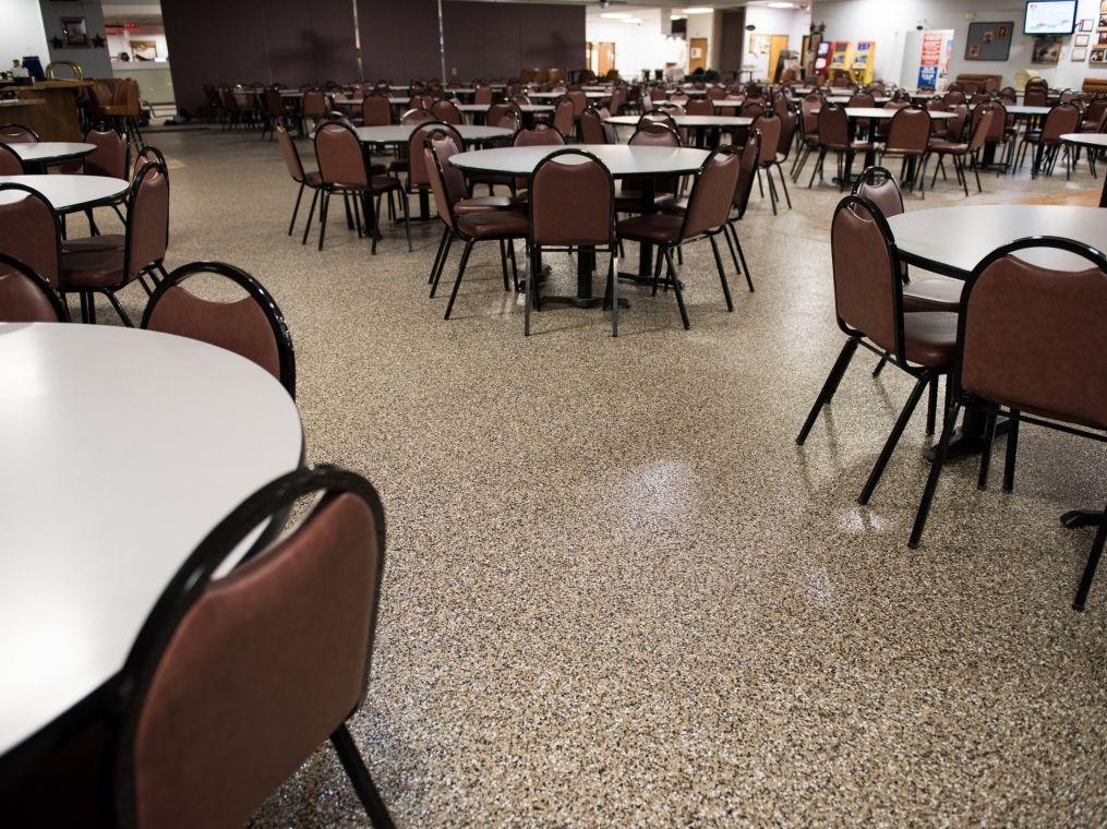 Custom flake flooring installed a local community center.