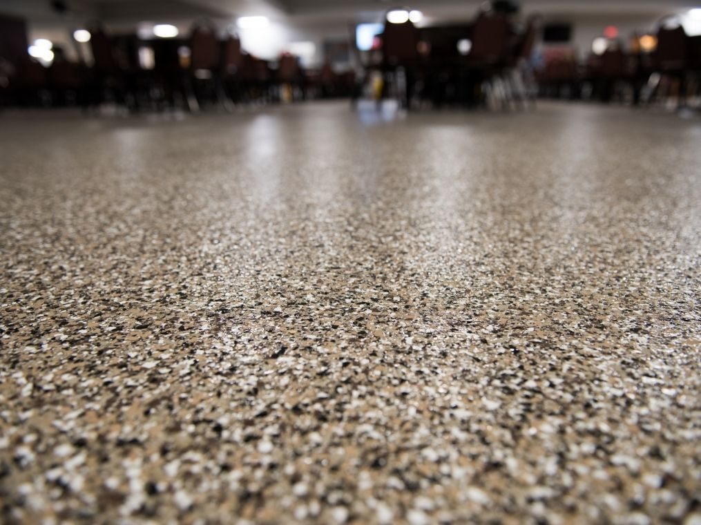 Up close view at a commercial flooring project.
