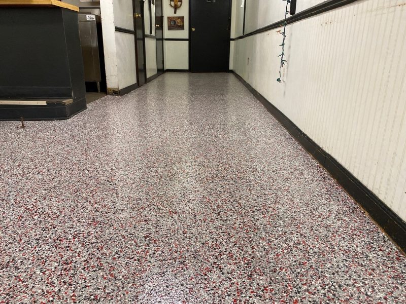 After custom flooring installed on a commercial kitchen.