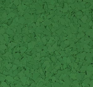 Flake flooring color sample - JD Green.