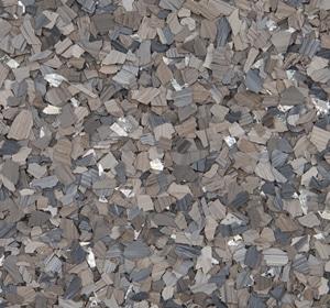 Flake flooring color sample - Dolerite accent.