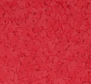 Flake flooring color sample - Cherry Bomb.