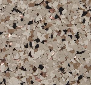 Flake flooring color sample - Shoreline accent.