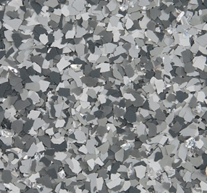Flake flooring color sample - Stonehenge accent.