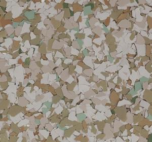 Flake flooring color sample - Olivine Sophisticated