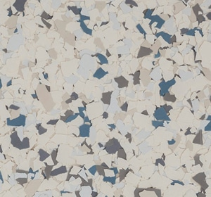 Flake flooring color sample - Blue Lagoon Eclectic.