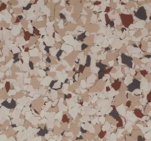 Flake flooring color sample - Chestnut Eclectic.