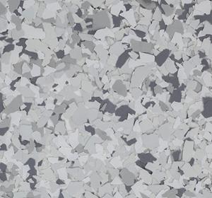 Flake flooring color sample - Lunar Greystone.