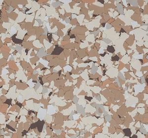 Flake flooring color sample - Mojito Brownstone.