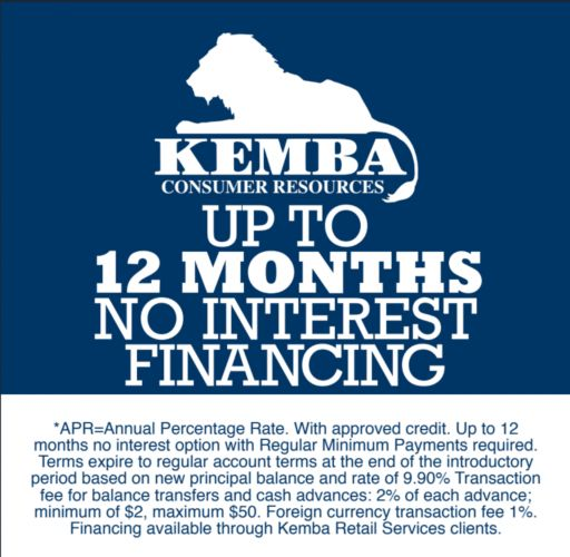 Financing optional from Kemba.