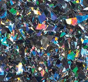 Flake flooring color sample - Holographic Glitter.