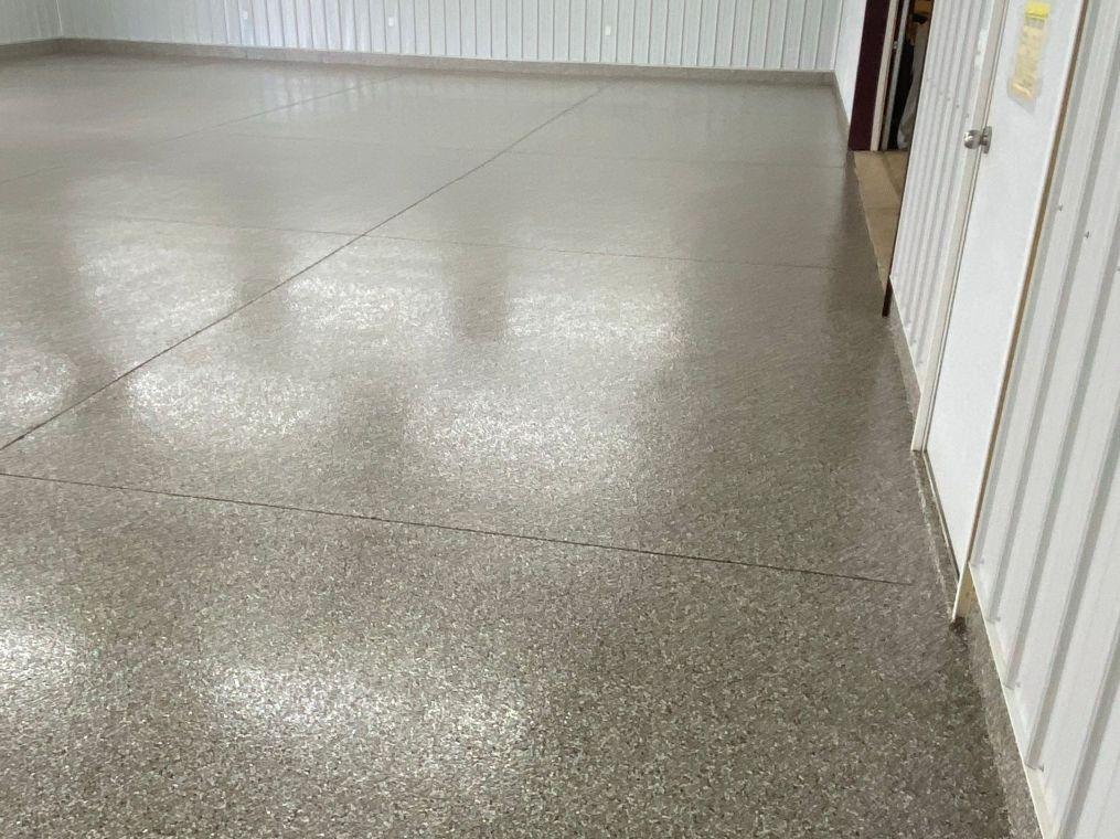 Anther look at fresh flake coating on a local garage floor.