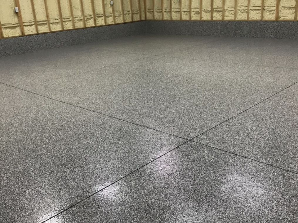 A different look at granite flooring installed on a local garage.