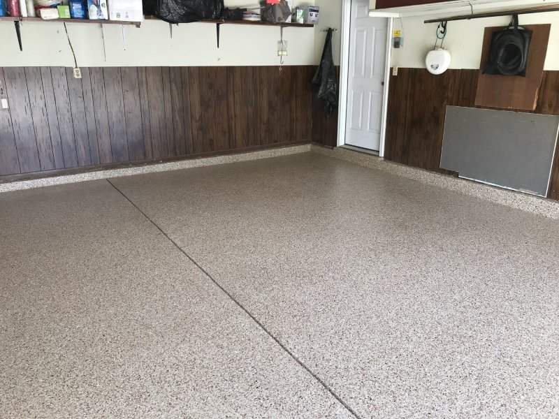 After a garage floor was installed with pecan flakes.