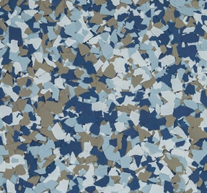 Flake flooring color sample - Huckleberry.