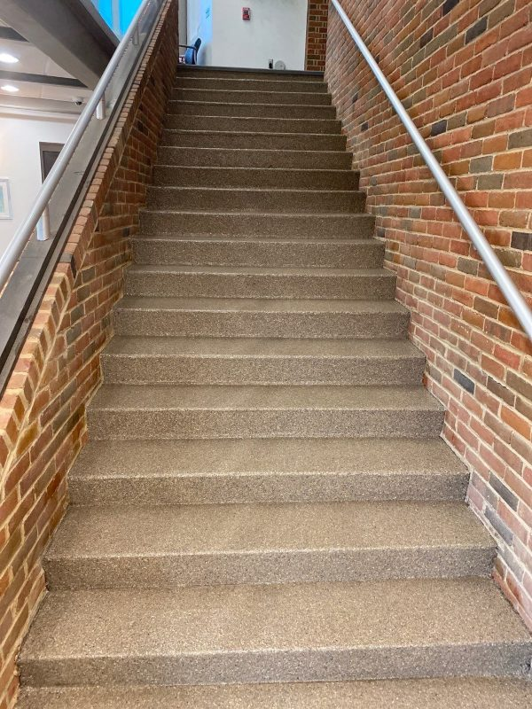 After custom flooring was installed on a stairwell.