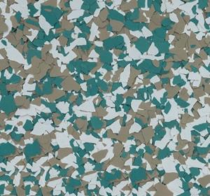 Flake flooring color sample - Mountain Green.