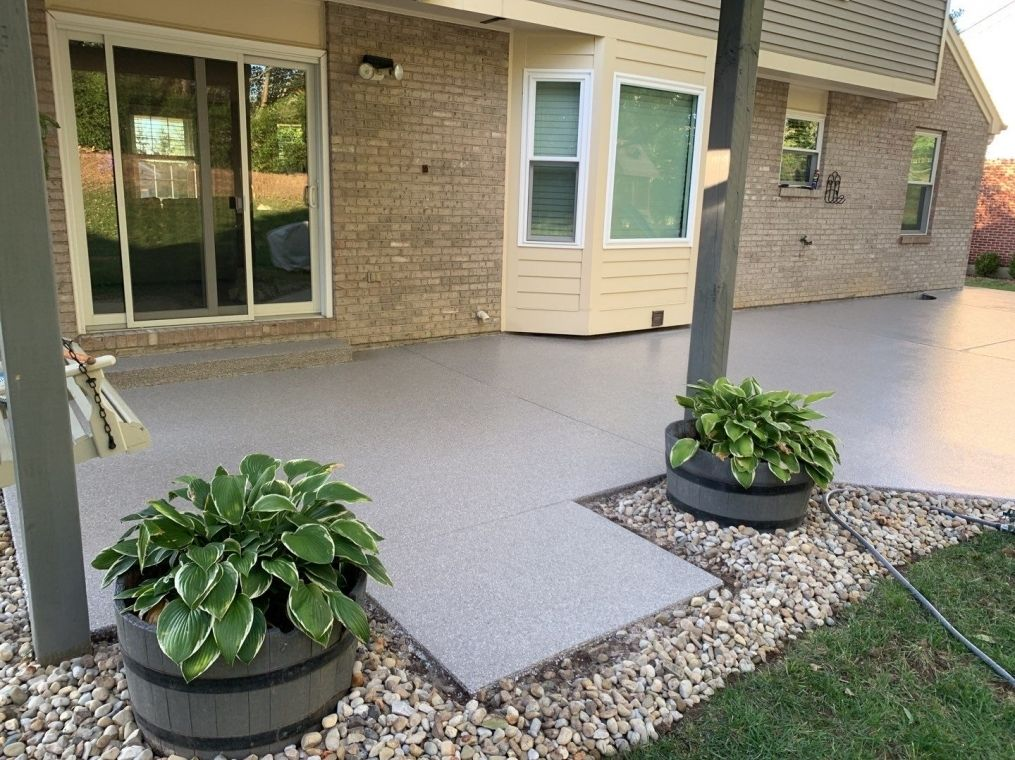 A different view of the patio after it has been completed.