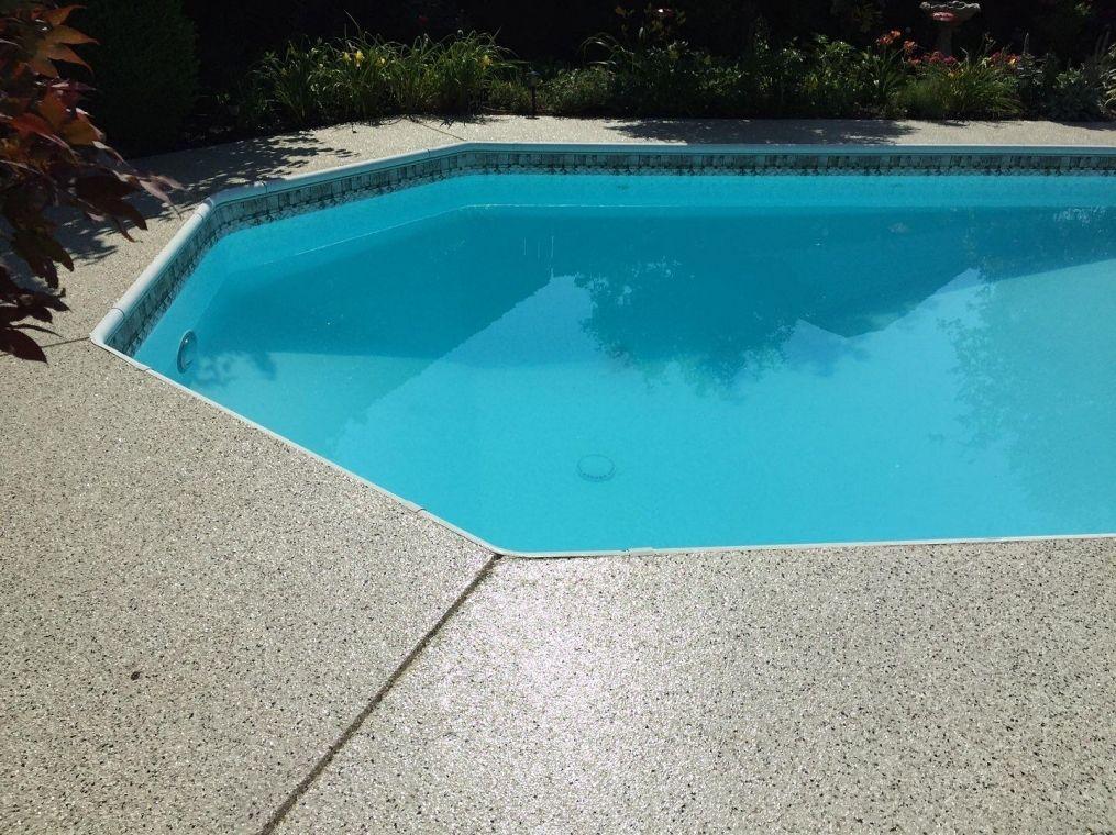Poolside flake flooring installed.