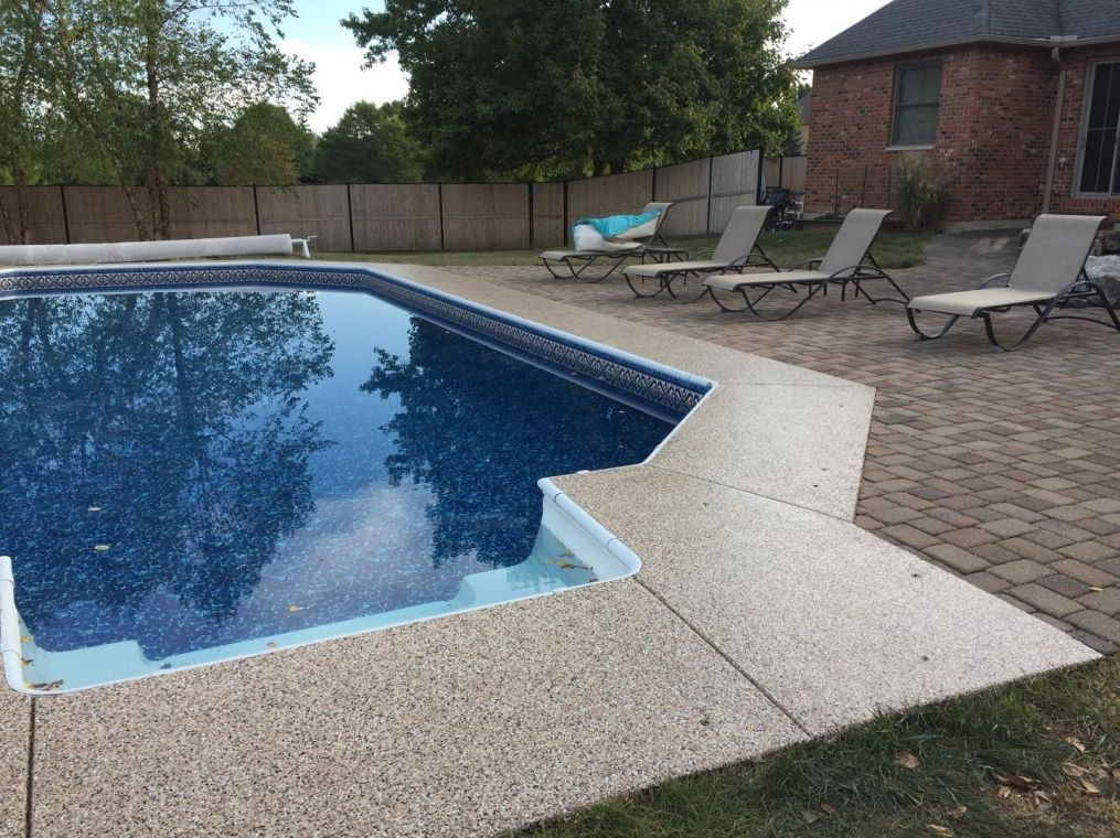 Another view from the poolside granite look flake flooring.