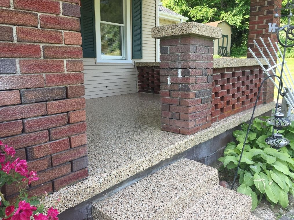Finished patio with flake flooring at a local home.