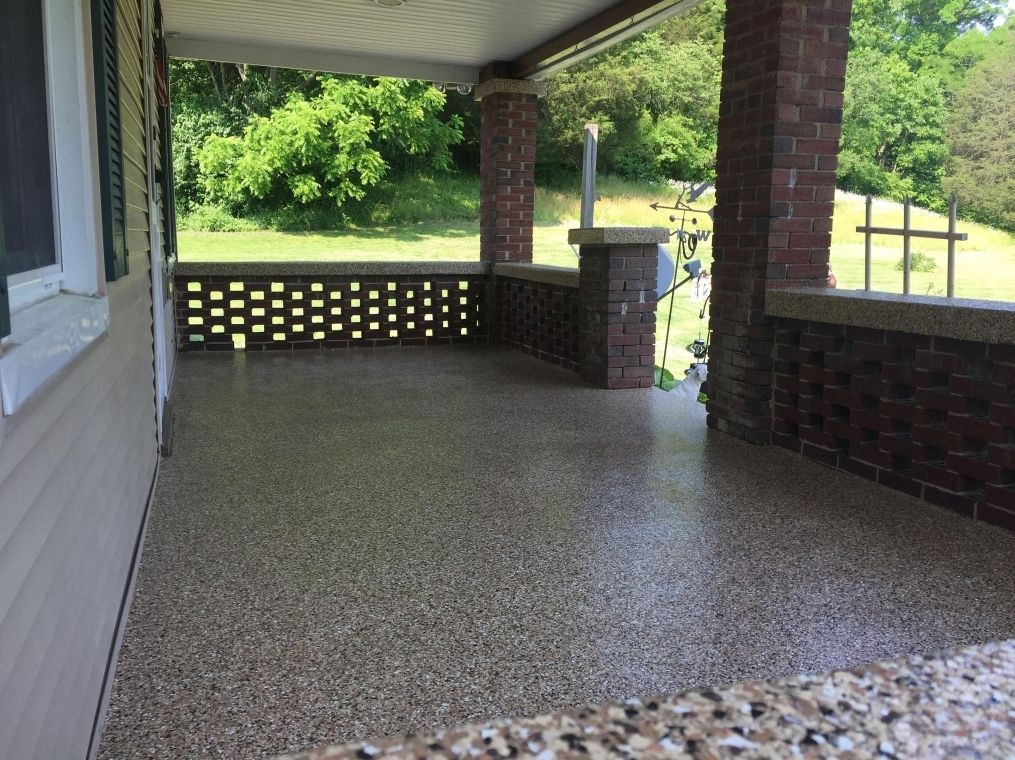 Another shot of the patio with finished flake flooring installed.