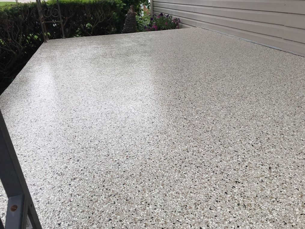 Up close view of custom flooring option for your home patio.