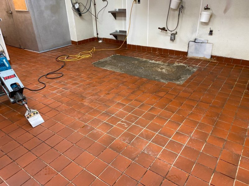 Before installing a custom commercial flake floor.